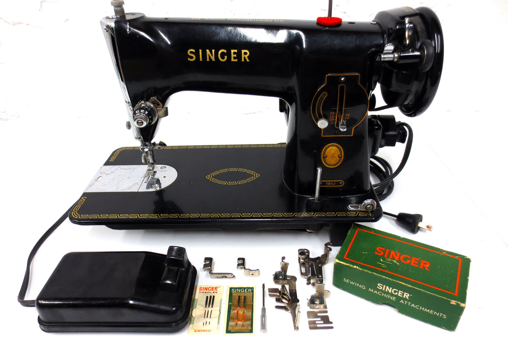 Industrial Singer Sewing Machine 191J, Rare Vintage 1950's Model w/ 9 Accessories