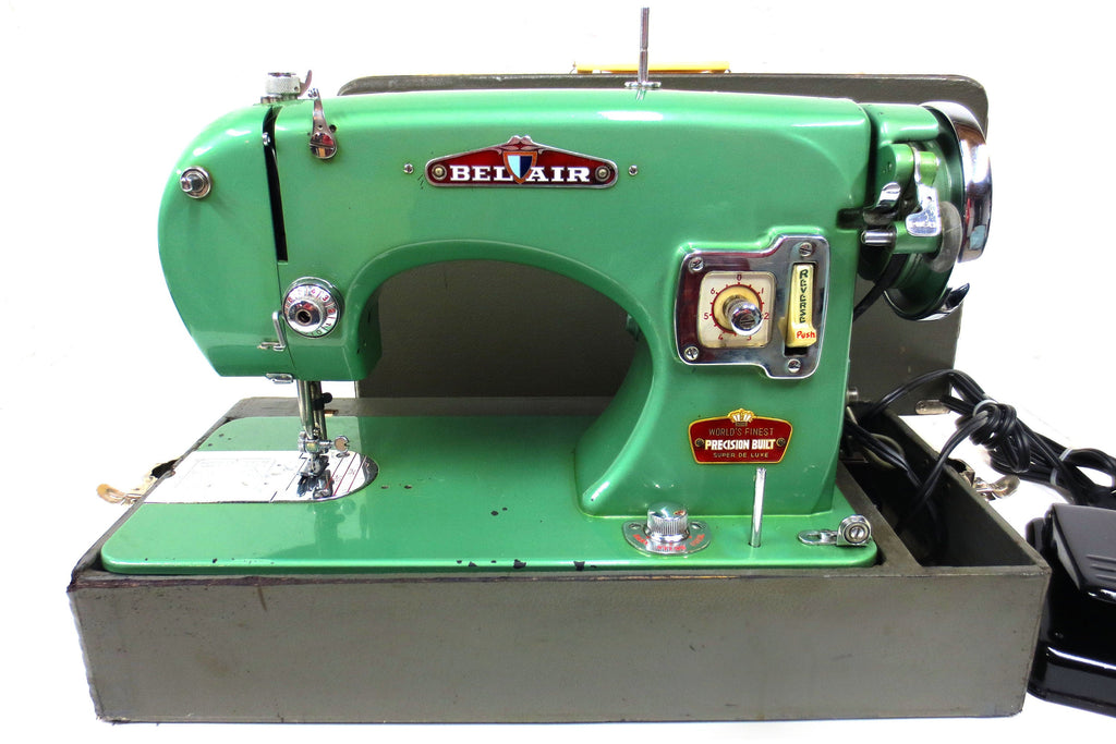 Rare Vintage Bel Air Super De Luxe Industrial Sewing Machine, Apple Green, 1950s