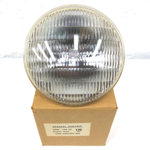 "New General Electric GE 500W Flood Light 8"" Dia. 120V MOG Base  500PAR64/MFL"