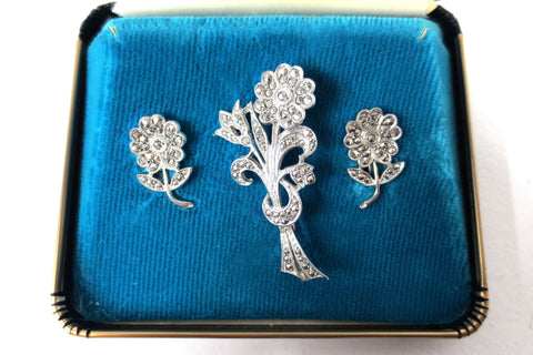 Vintage Sterling Silver Daisy Flower Earrings and Bouquet Brooch, Marcasite