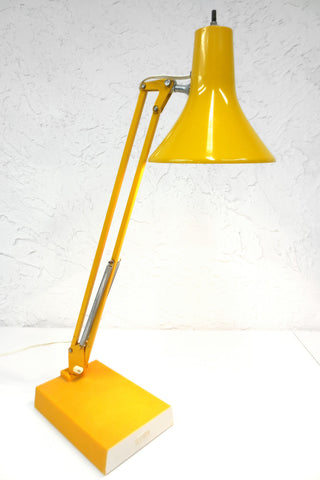 "Vintage Mid Century Yellow Luxo Drafting Desk Lamp, 20"" Articulated Swing Arm"