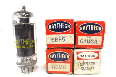 4 New Old Stock NOS Raytheon Vacuum Tubes 6BF5, 6AW8A, 6CM6, CK5726