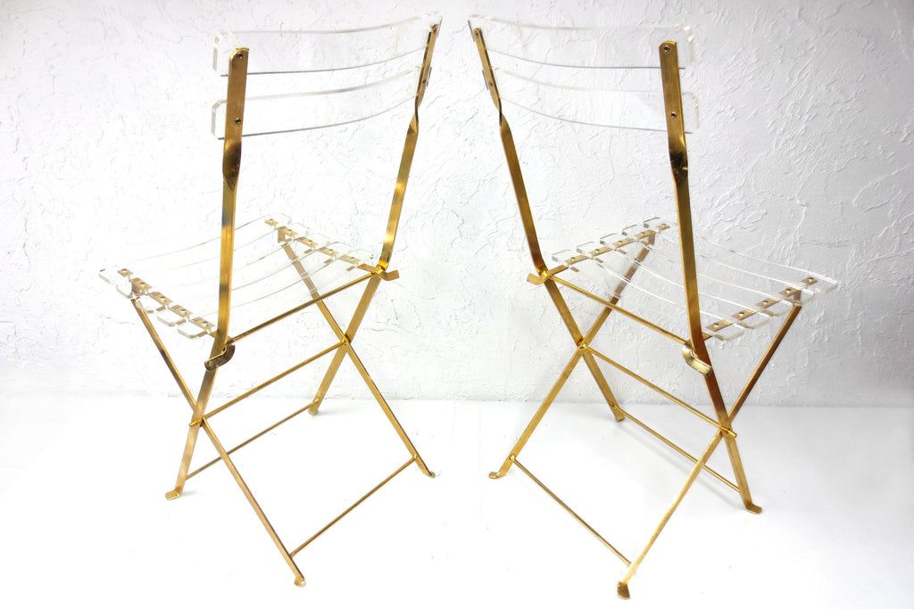 2 Vintage Plexiglass Gold Plated Folding Chairs by Designers Labovici & Berthet