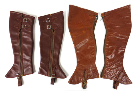 2 Vintage Pairs of Leather Spats Gaiters Leggings, Buckle & Zipper, Horse Riding