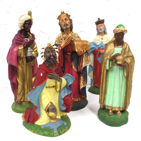 5 Tall Vintage Christmas Manger Creche Wizard Figurines, Paper Maché, Italy