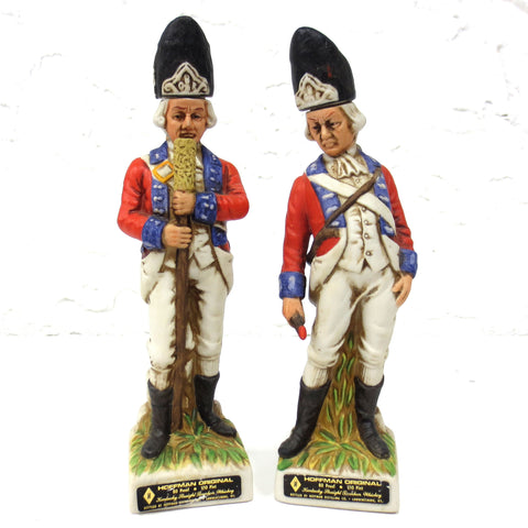 Pair of Revolutionary War Soldier Decanters, Hoffman Kentucky Bourbon Whiskey