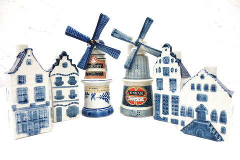 Lof of 6 Vintage KLM  Delfts Simon Rynbende Decanter Houses & Windmills, Holland