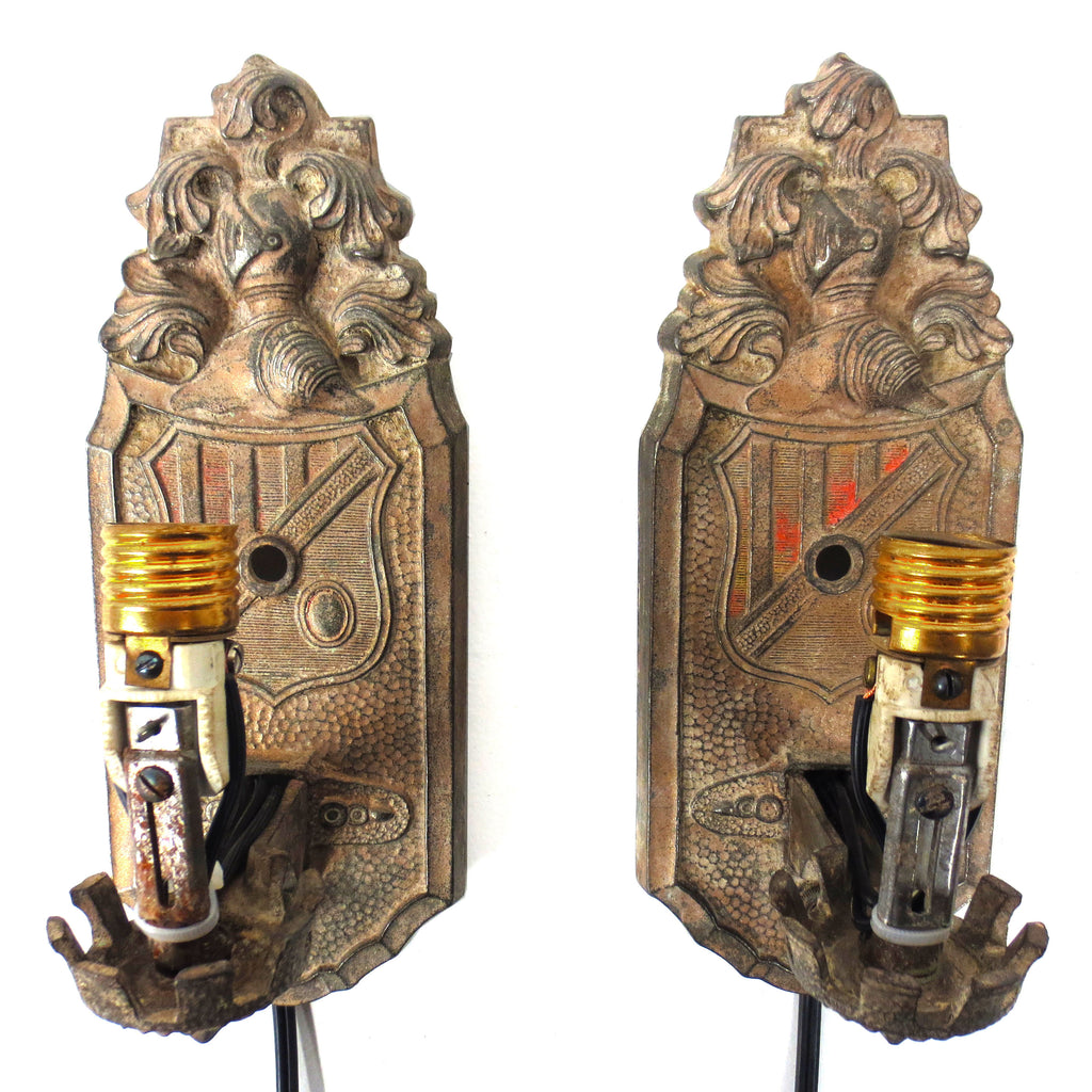 Antique Markel Electric Wall Sconces Light Fixture Pair, Armoured Knight & Crest