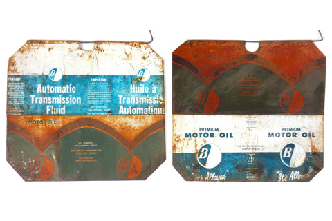 2 Vintage Pearless BA Motor Oil Advertising Panels, Flatten Metal Cans for Garage