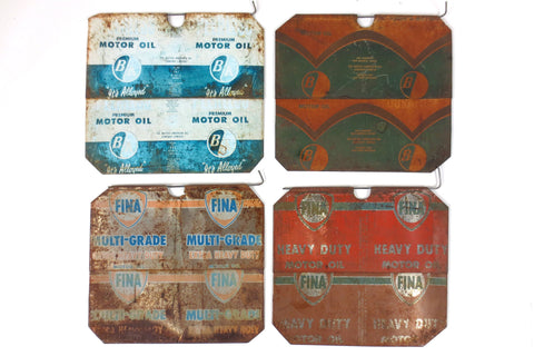 4 Vintage Fina and Pearless BA Motor Oil Advertising Panels, Flatten Metal Cans