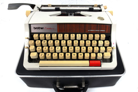 Vintage 1980's Brother Echelon 89 Typewriter Faux wood, Black Case, Auto Repeat