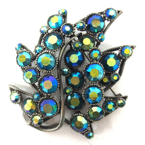 Vintage Flower Brooch 55X60 mm Signed BSK, Blue & Green Rhinestones, Pewter Base