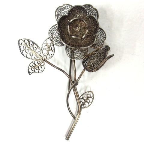 Antique Sterling Silver Filigree Flower Brooch 45X65 mm, Curvy Flower Stem