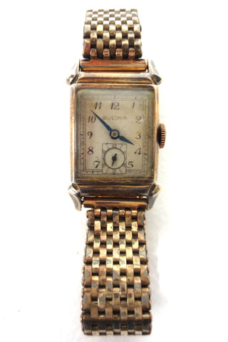 Vintage 1940's Art Deco Bulova Watch for Men 14k RGP, 17Jewels, 8AH, Fancy Lugs