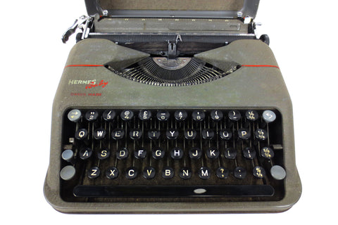 Vintage 1940's Hermes Baby Portable Typewriter with Case, Paillard Switzerland