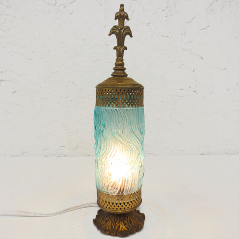 "Antique Boudoir Lamp Blue Glass with Waves 14"" Tall, Gold Tone Cast Iron & Metal"
