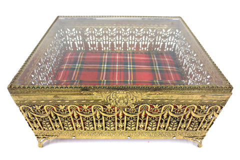 Vintage Filigree Ormolu Jewelry Box, Gold tone metal, Beveled Glass, Tartan