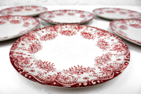 "6 Antique Cartier England Porcelain Desert Plates 6 3/4"" dia, Red Flowers"
