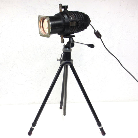 Vintage Tripod Spot Light Floor Lamp 360° for Studio Loft, Extends Up to 5 Feet