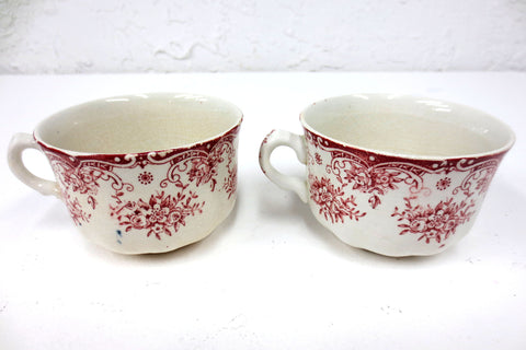 "2 Antique Cartier England Coffee & Tea Cups 3 5/8"" dia, Red Flowers"