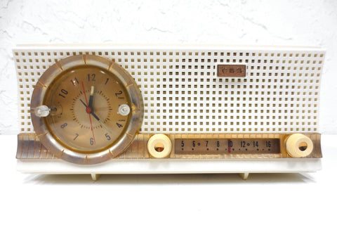 Mid Century 1956 CBS-Columbia Tube Clock Radio Rare Model C231, Gold Details