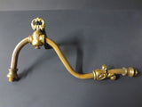 Antique Victorian Brass Gas Lamp Light Arm, Ornate Leaves Light Fixture Sconce