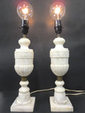 "Vintage Ornate Marble Table Lamps 16"" Made in Italy, Urn Pillar Shape Lamps"