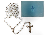 "Vintage Crystal Beads Rosary 23"", Silver and Brass Crucifix, Virgin Mary, Birks"
