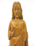 "Antique Jesus Christ Wood Statue 13"", Hand Carved, Sacred Heart Church Sconce"
