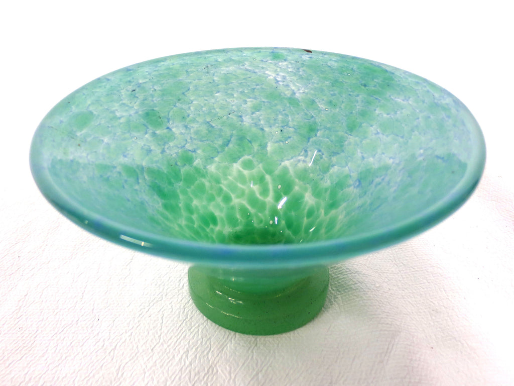 Vintage Vasart Monart Scotland Glass Bowl Vase, V Shape, Green, Signed
