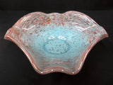 Vintage Vasart Monart Scotland Glass Bowl, Flower Shape, Blue Red Twirl, Signed