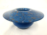 Vintage Vasart Monart Scotland Glass Bowl Vase, Aventurine, Blue, Signed