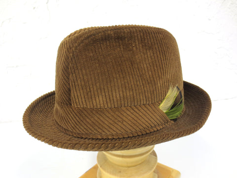 Vintage Brown Ireland Fedora, Luxury Cotton Corduroy Blarney Hat, Handmade 6 7/8