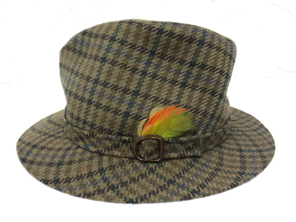 Vintage Green Wool Tweed Fedora, Biltmore Hat Made in Canada, Feathers, 6 7/8""