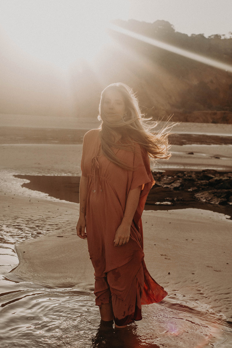 The Fancy Free Kaftan - Pink Clay