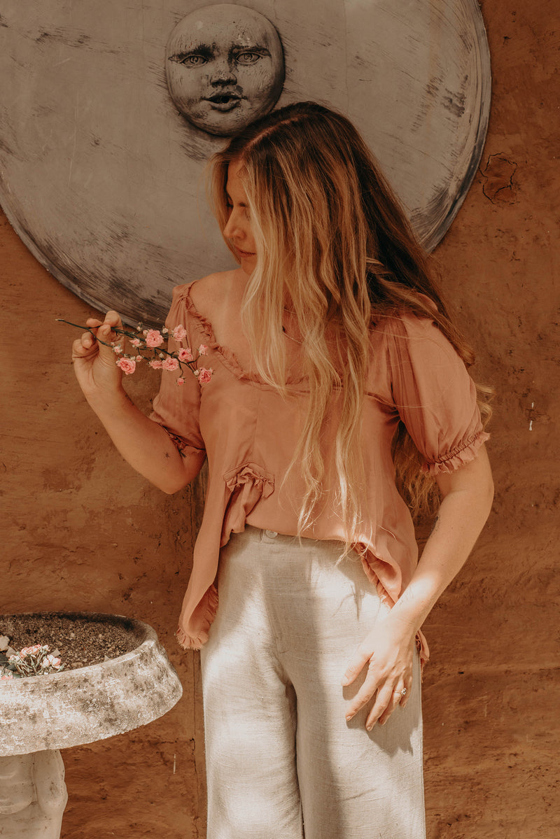 The Sea Breeze Blouse - Pink Clay
