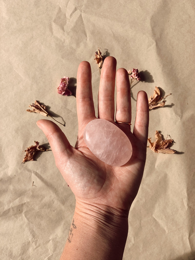 Rose Quartz Palm Stone 2.