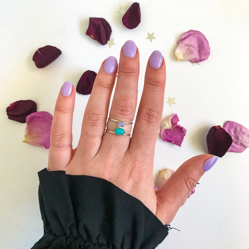 The Twin Flame Ring - Opal x Amazonite