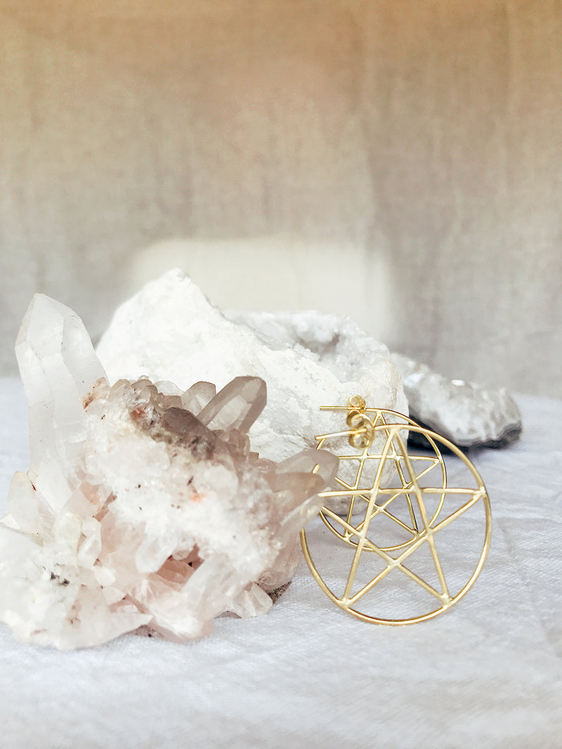 The Pentacle Hoops - Gold
