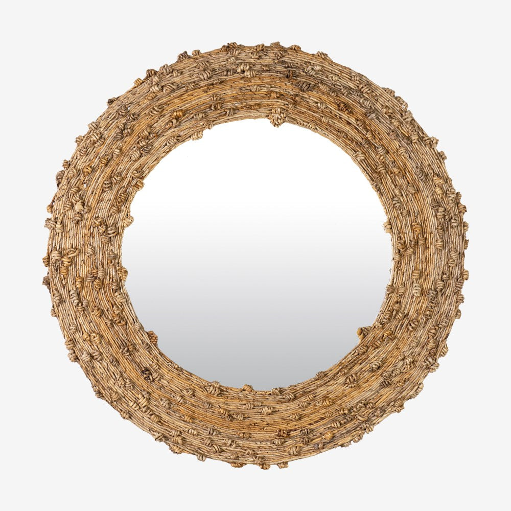 JE Knotted Natural Round Mirror