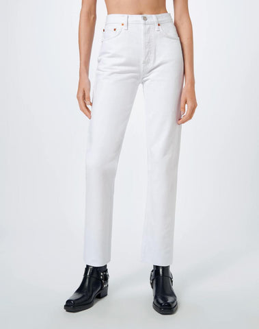 RE/DONE High Rise Stove Pipe Jeans White