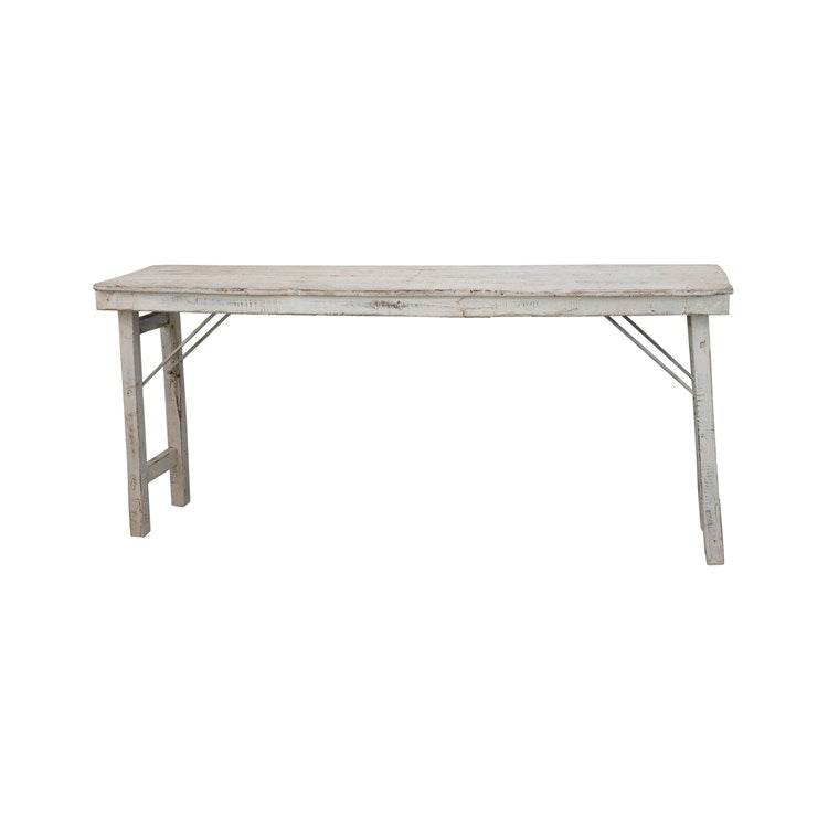 Wood Folding Table Whitewashed