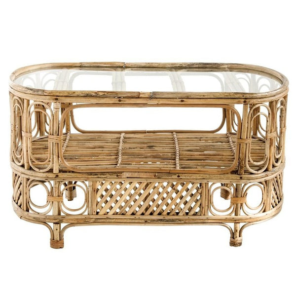 Oval Bamboo & Glass Table