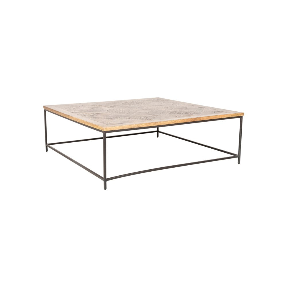 JE Square Coffee Table, Greywash and Iron