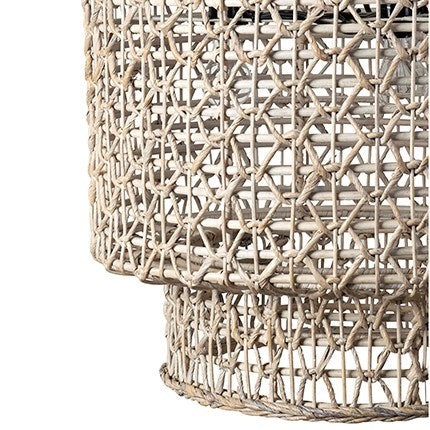 JE Double Barrel Woven Rope Chandelier