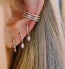 DIAMOND MINI HUGGIE WITH DIAMOND TEARDROP DROP EARRING