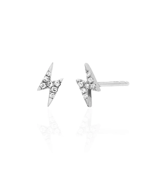 DIAMOND MINI LIGHTNING BOLT STUD EARRING