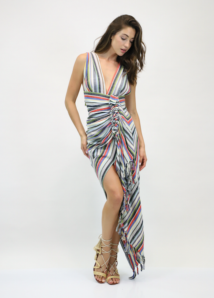 Just Bee Queen Tulum Dress Bright Multi Stripe
