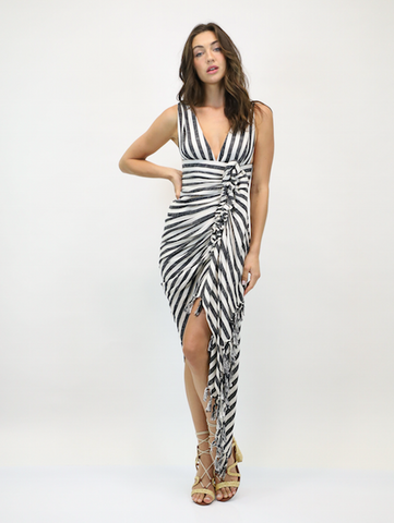 Just Bee Queen Tulum Dress Black Stripe
