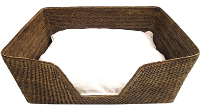 Rattan Dog Bed - Antique Brown
